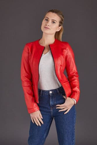 Red Leather Jacket Ladies